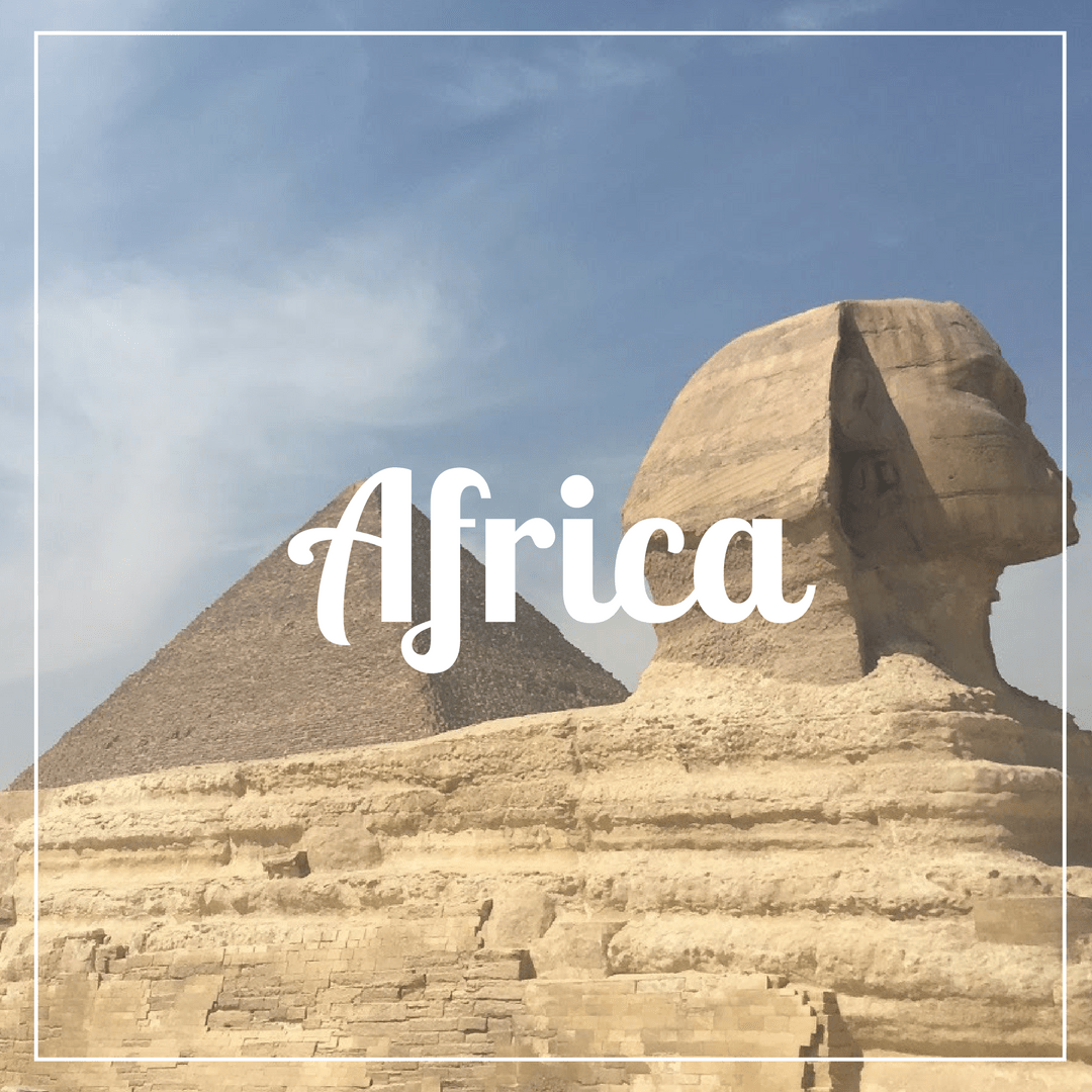 Africa written over a photo of an Egyptian sphinx and a pyramid
