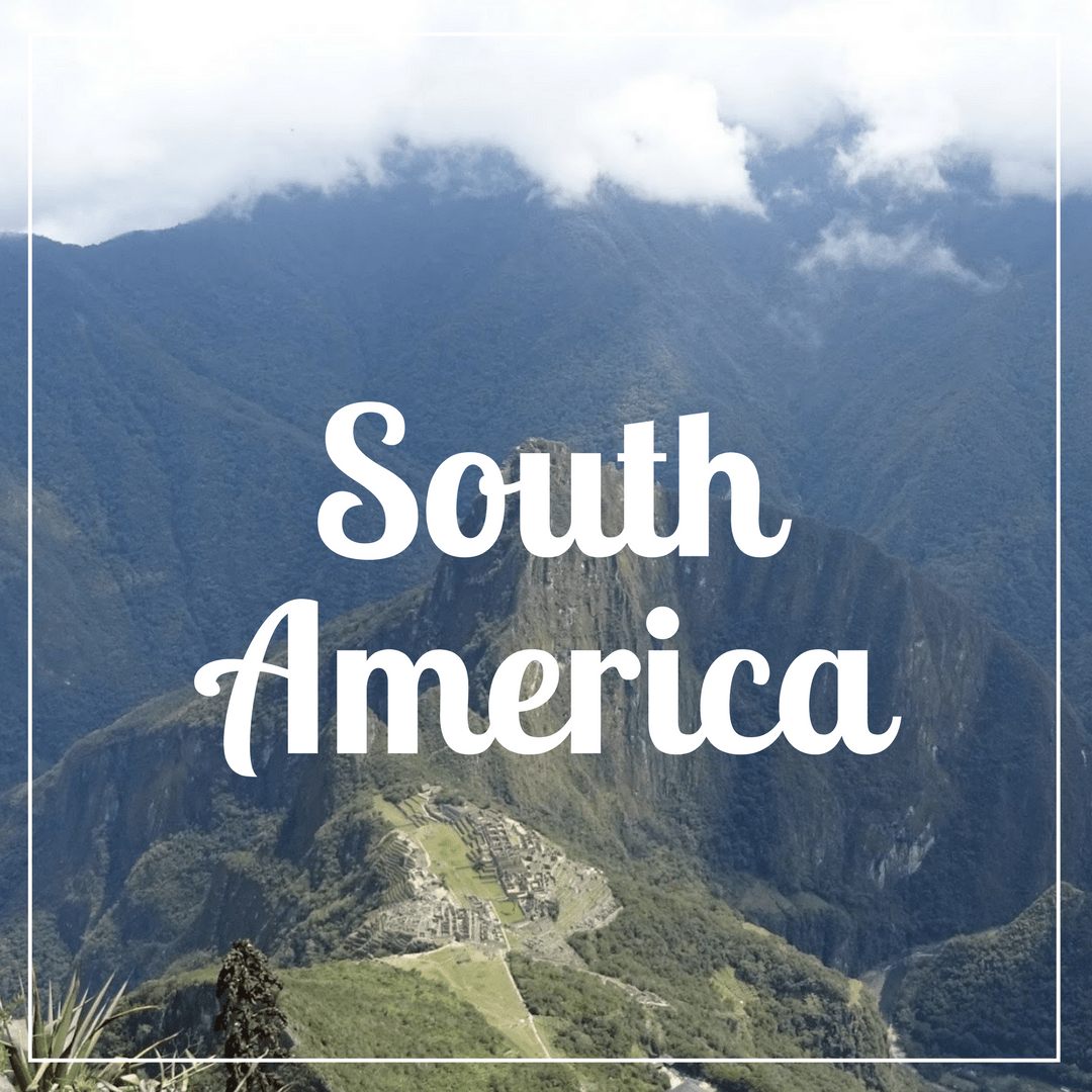 South America written over a photo of cloud covered hills overlooking Machu Picchu in Peru