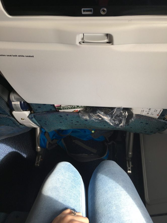 A picture of the leg room