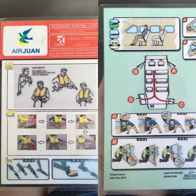 Air Juan safety card
