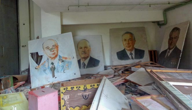 Paintings of Soviet leaders in Pripyat