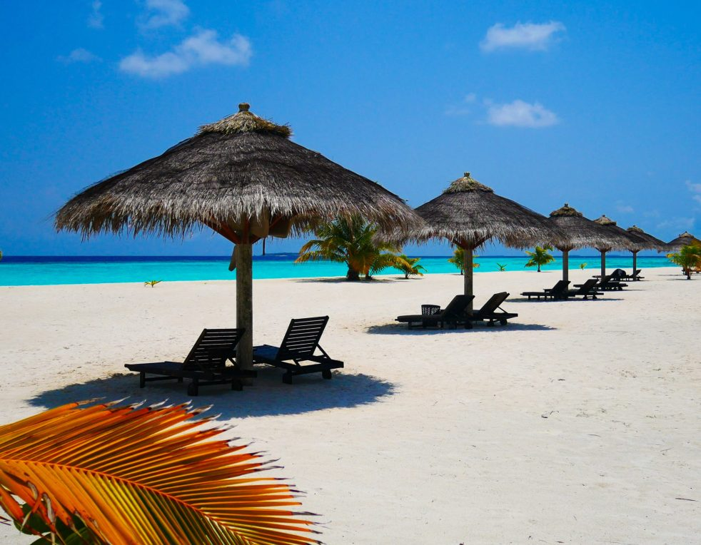 beach umbrellas and sun loungers on the beach at Kihaa Maldives