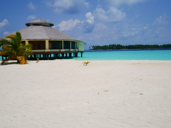 The K Spa building on the beach at Kihaa Maldives