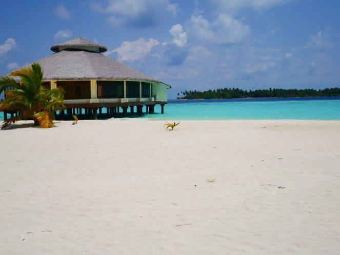The K Spa building on the beach at Kihaa Maldives
