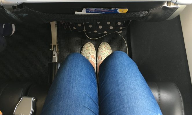 Economy leg room on a British Airways Airbus A320