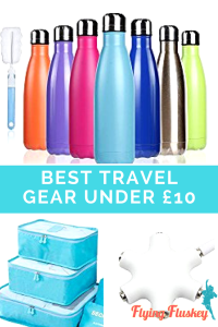 What is the best travel gear under £10 that will help you pack like a pro! We have the list right here at Flying Fluskey! #travelgear #budgettravelgear #travelgearunder£10 #cheaptravelgear #reusablewaterbottle #popsocket #phoneshelf #