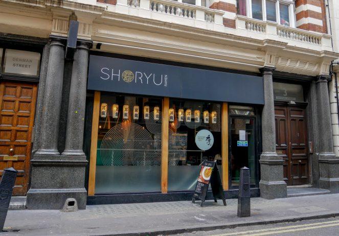 The outside of Shoryu Japanese restaurant, Soho, London