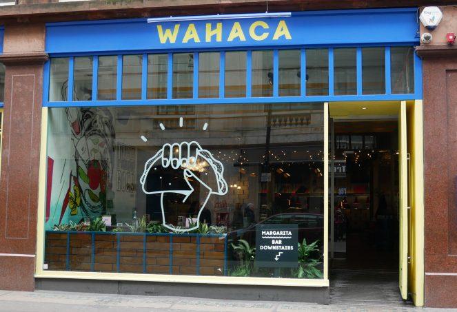 The blue outside of Wahaca, Soho, London