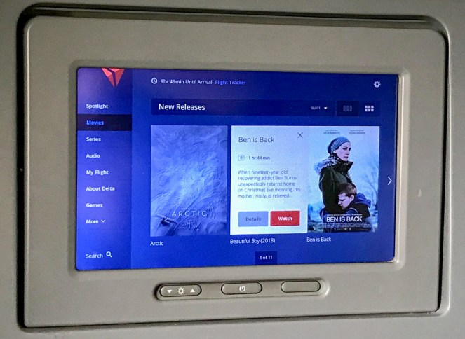 grey IFE screen on Delta One on Delta Air Lines Boeing 767