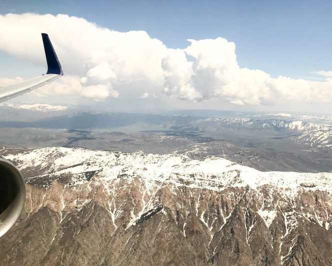 the Wasatch Mountains east of Salt Lake City from a Delta Air Lines Boeing 767