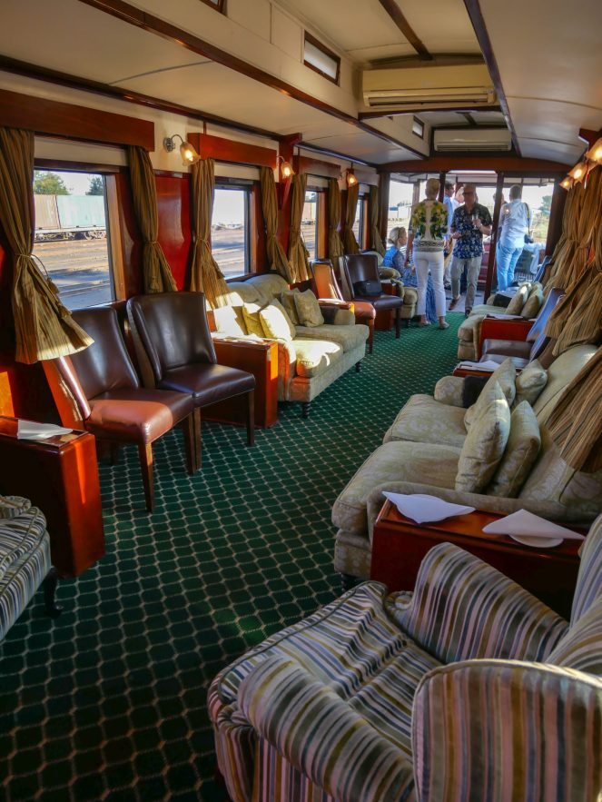 The Observation Car at the back of the Royal Livingstone Express train