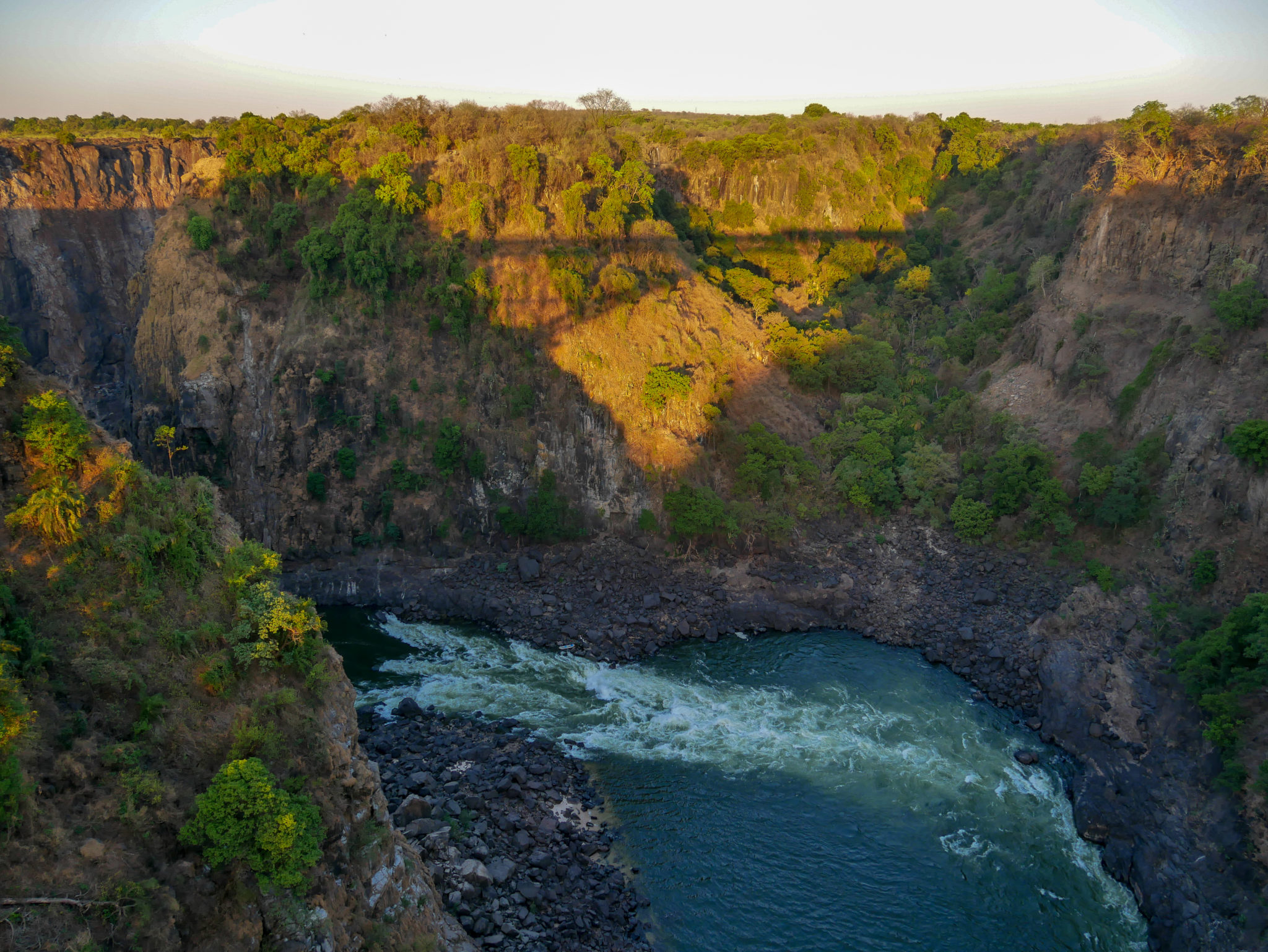 The view from Victoria Falls bridge of the boiling point