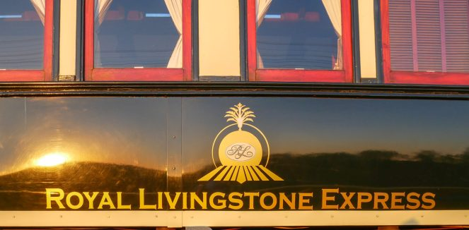 Royal Livingstone Express logo on the side of a train carriage