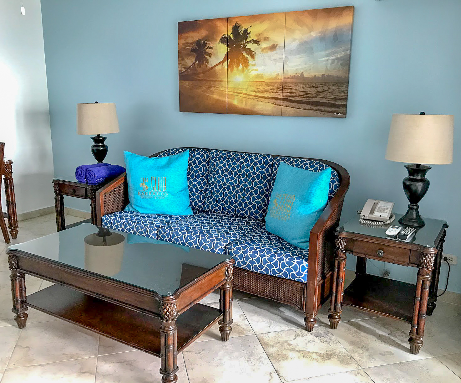 A wide shot ofthe lounge at The Club Barbados