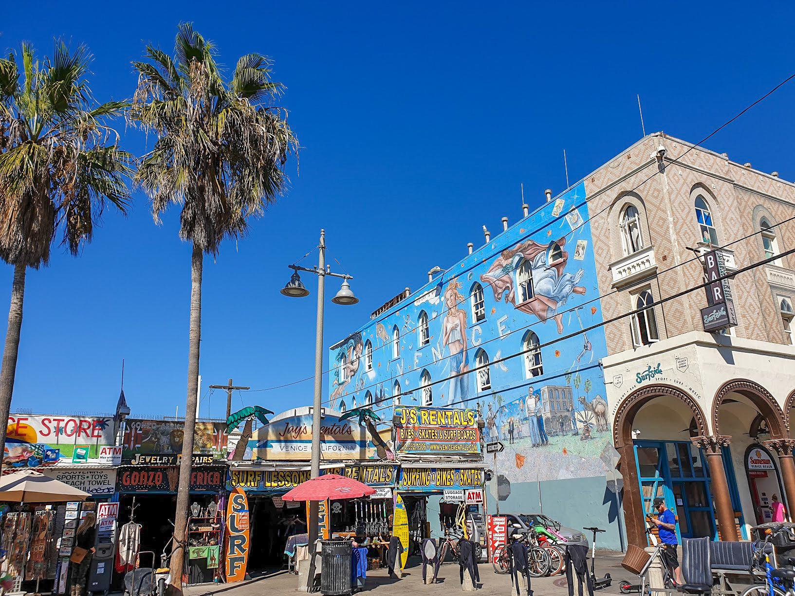Venice Kenesis mural on a building in Venice Beach, Los Angeles