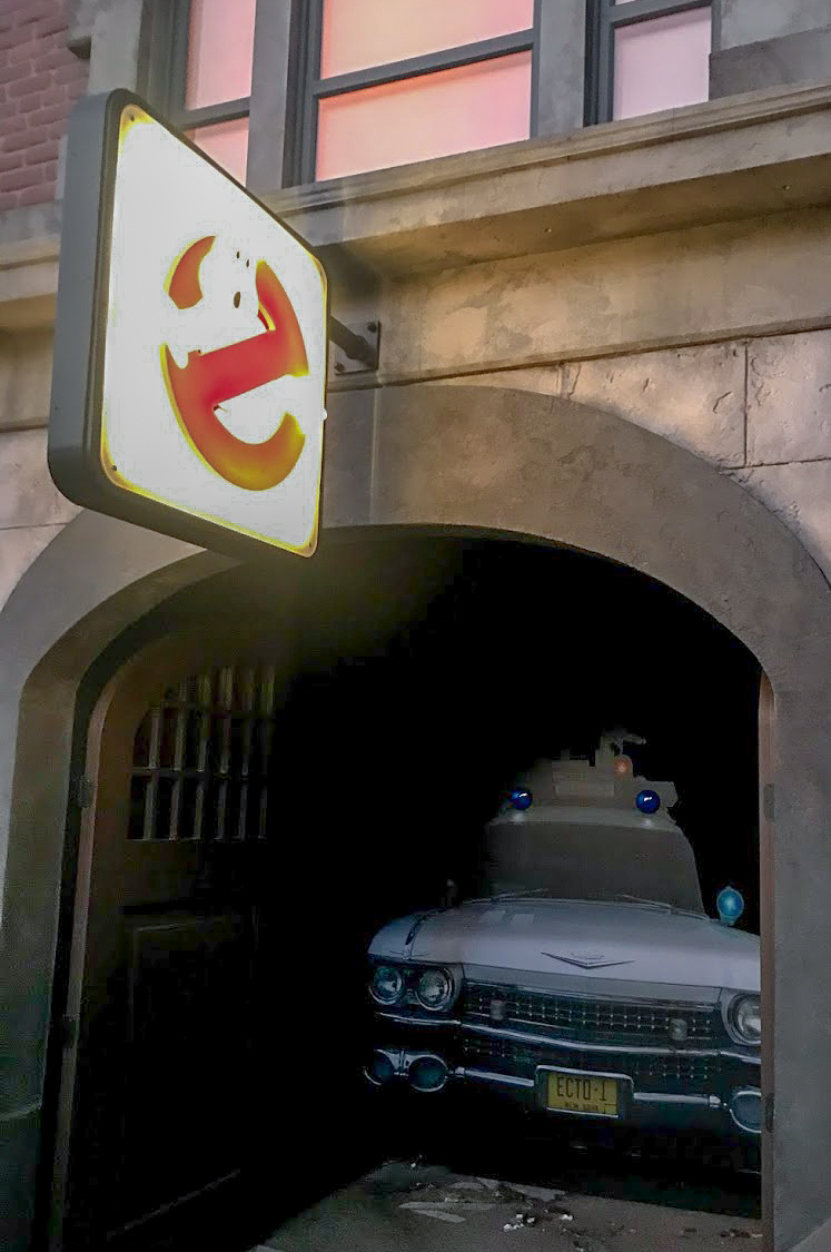 The ghostbusters sign and car