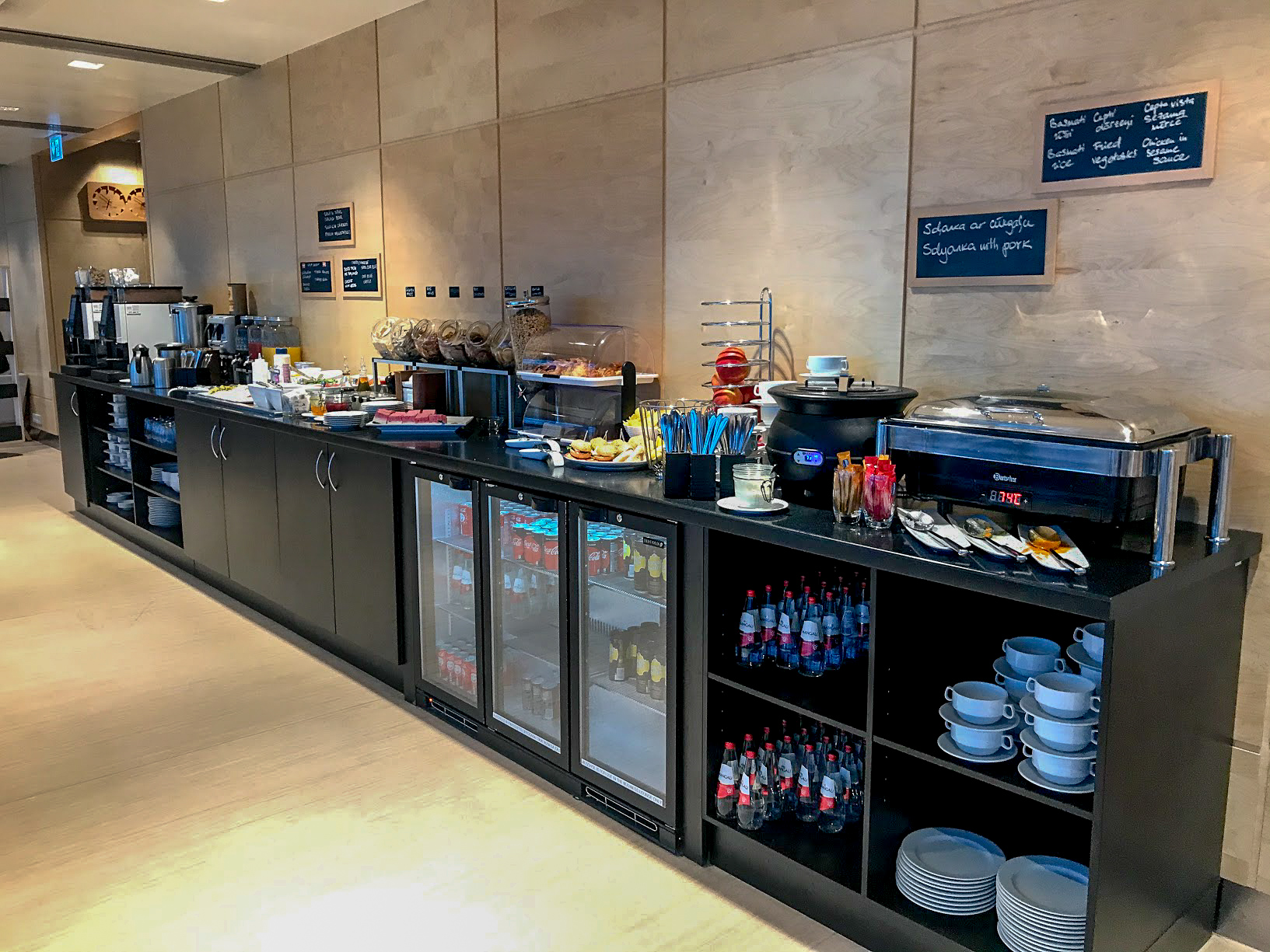 Food and drinks counter in the Primeclass Business Lounge at Riga International Airport