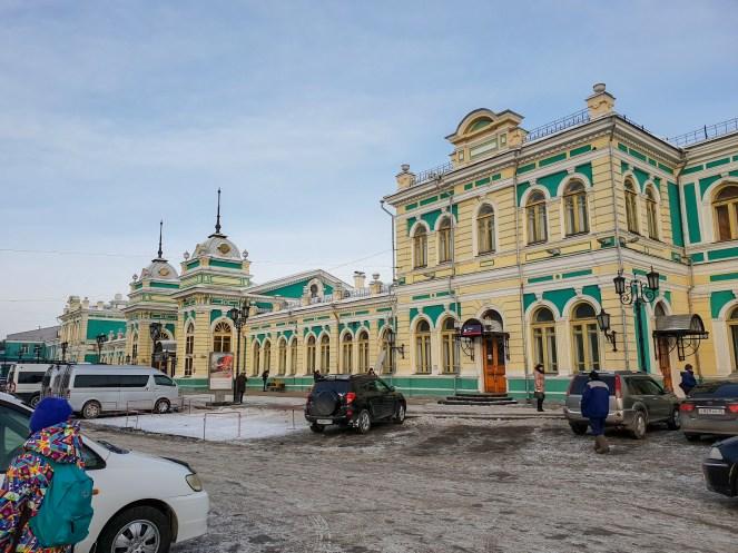 the outside of Irkutsk Railway station, Russia