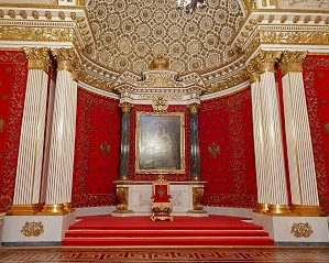 Red walls and gold gilt ceiling of The Small Throne Room of the Winter Palace, Moscow