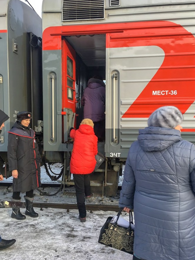 Passengers boarding the Trans-Siberian Train at Ulan Ude