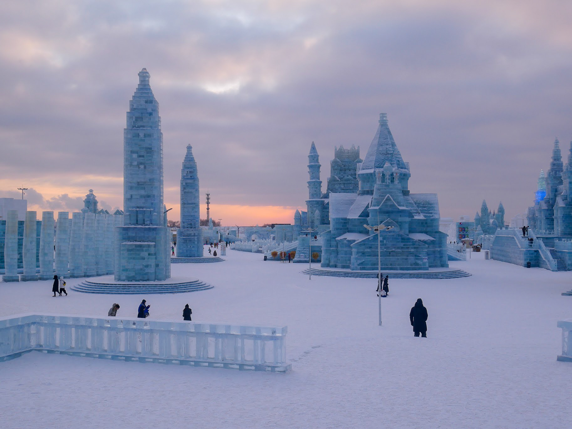 several ice buildings at Harbin Ice and Snow World
