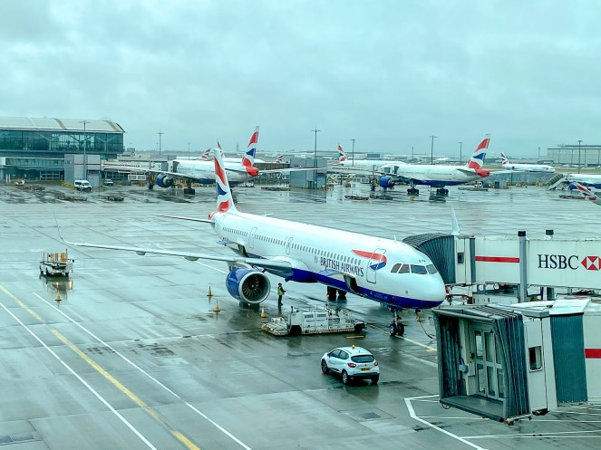 British Airways planes on stands at London Heathrow Airport Terminal 5
