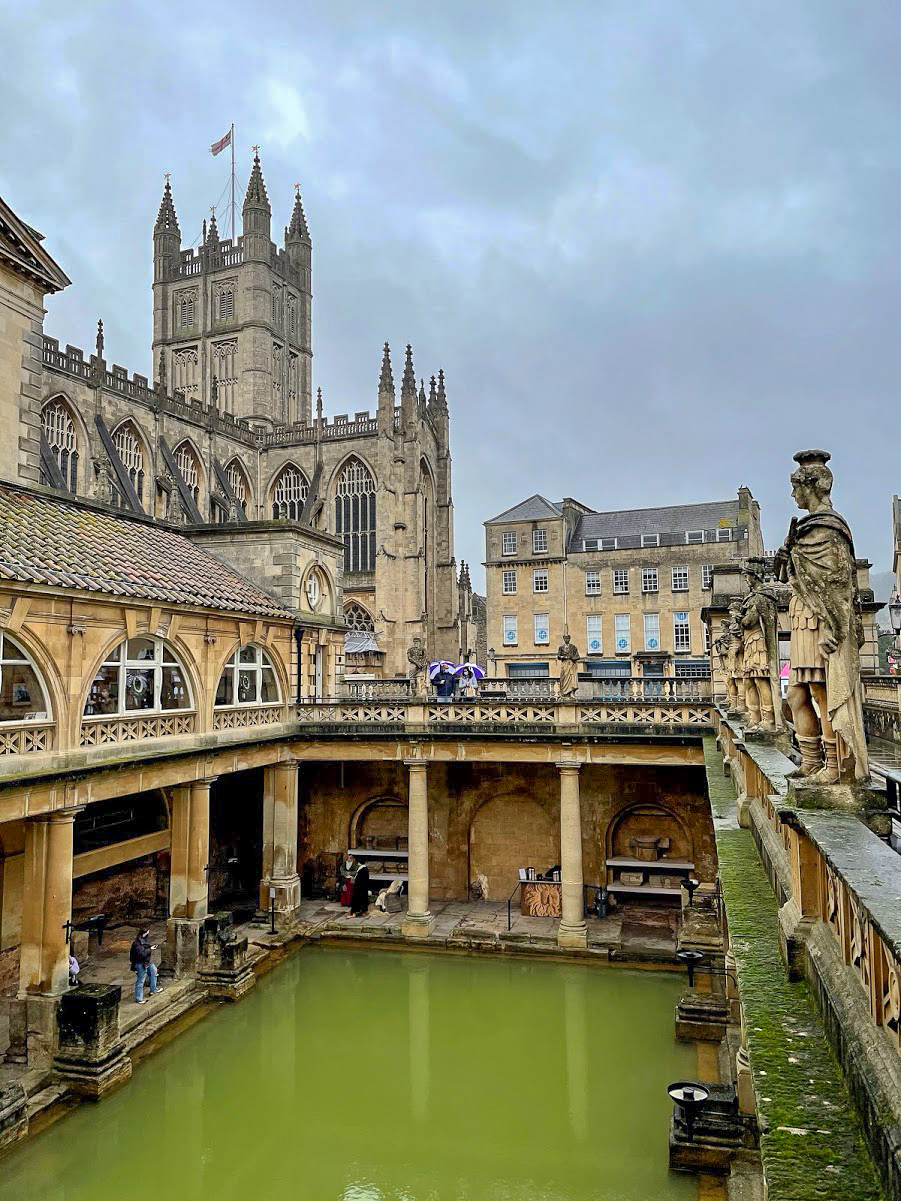 A view from the Terrace of the Roman Baths at Bath with Bath Abbey in the background