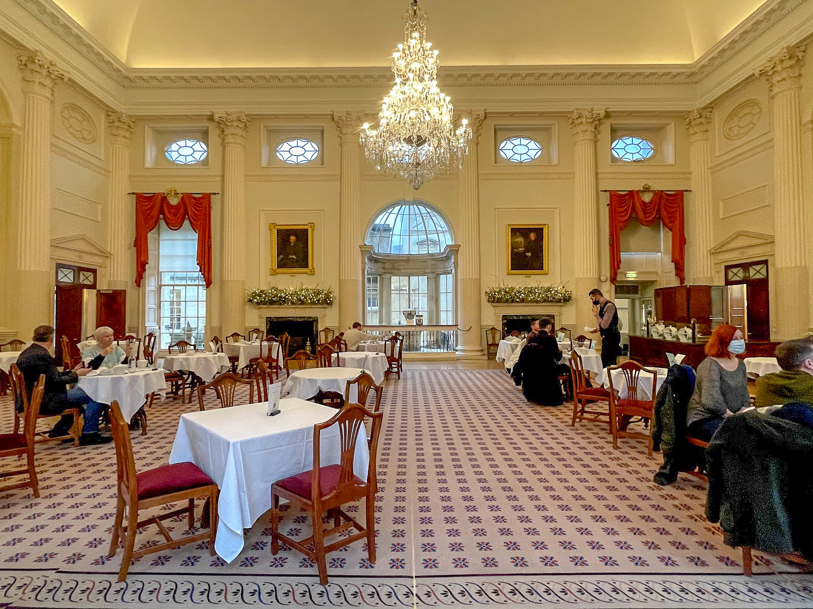 The interior and chandelier of The Pump Room Bath