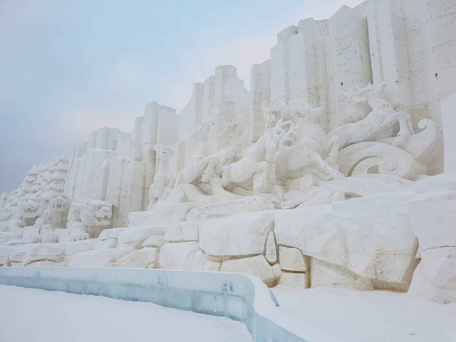 snow sculpture of deers at Harbin Ice and Snow Festival