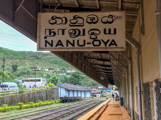 a white sign with black writing Nanu-Oya Nuwara Eliya train station, Sri Lanka