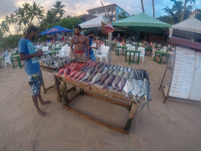 fish on display in front of a beach restaurant in Sri Lanka