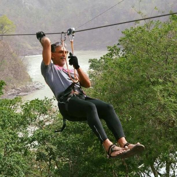 Milind Soman, Flying Fox Rishikesh, Rishikesh, Uttarakhand, flying fox, ziplining, zipline tour, ziplines, adventure activities in india, adventure sports, outdoor sports