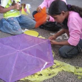 Summer Games camper making kite in 2010