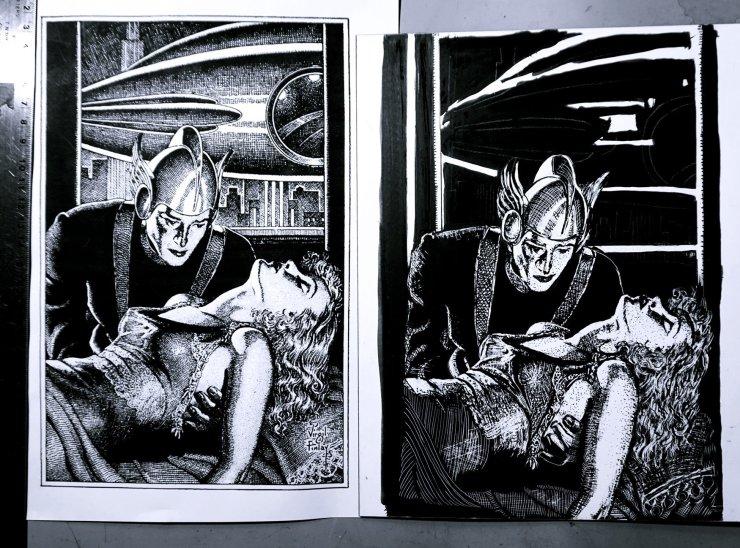 scratchboard, artwork, pen and ink, design, pulp artist
