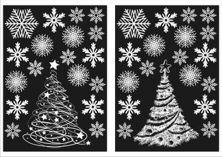 Christmas tree and snowflakes
