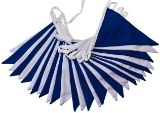 Royal Blue and White Double Sided Bunting