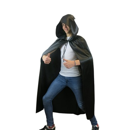 Fancy Dress Hooded Black Cape Long Vampire Cloak Halloween Party Pagan Costume