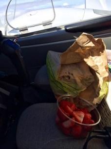 Pilot snack, fresh strawberries and a Ciabatta