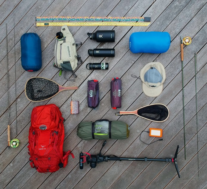 Fly fishing gear layed out pre-trip