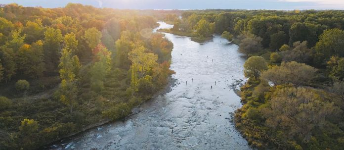 Aerial shot of the Salmon River