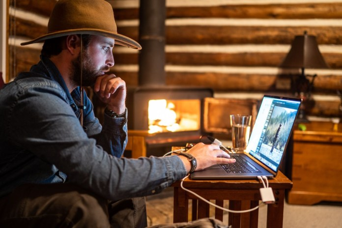 jared editing in the cabin