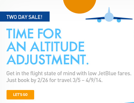 JetBlue 2 Day Sale – From $39 One Way