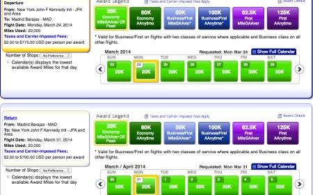 Off-Peak round trip award options from JFK-Madrid