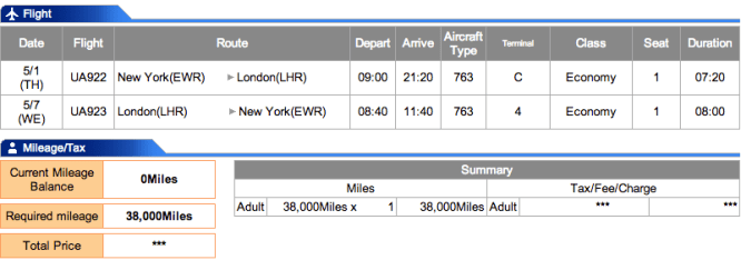 New York-London for only 38,000 points!
