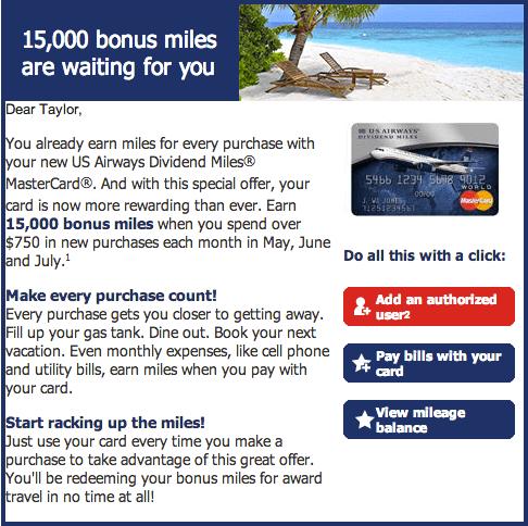 Targeted 15,000 Bonus Point Offer for US Airways MasterCard Holders
