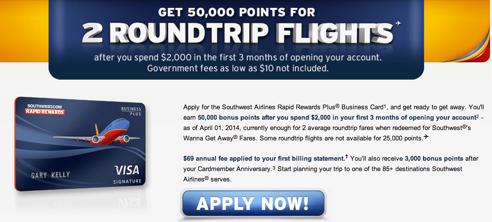 Southwest Airlines Consumer & Business Credit Cards With 50,000 Point Sign Up Bonus Is Back