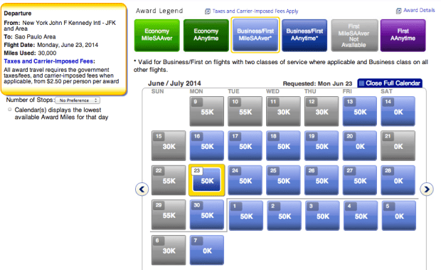 Direct flights in business from JFK-Sao Paulo for only 50k each way!