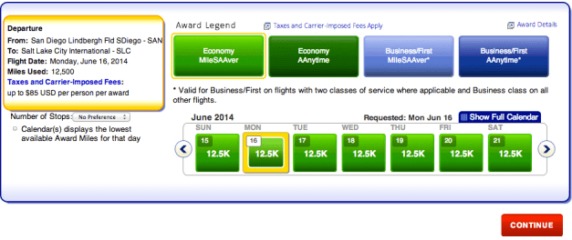 San Diego to Salt Lake City with availability in AA's Economy MileSAAver category