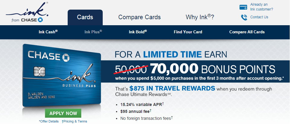 Chase Ink Plus 70,000 Point Sign Up Offer & Up to 50,000 Points in Referral Bonuses – Plus…How to Earn Absurd Amounts of Ultimate Rewards Points!