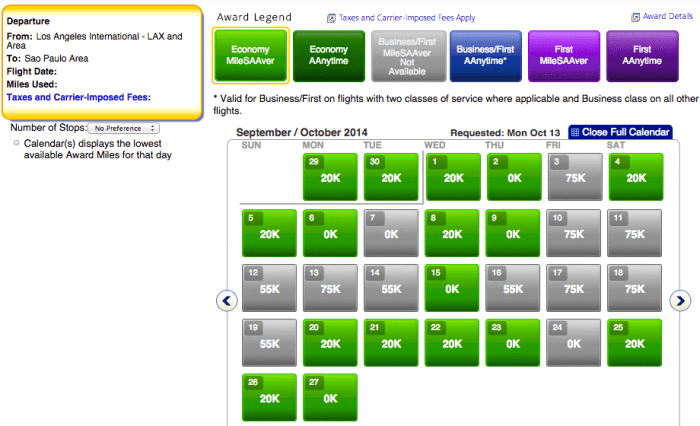 Fly to Brazil for only 20k points each way